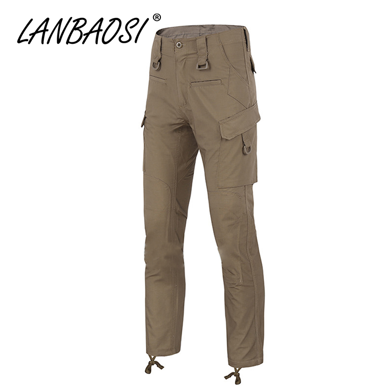 Lanbaosi hombres combate Pantalones Army CAMO casual Militar pantalón  táctico trabajo cargo Pantalones multi bolsillos más tamaño impermeable 9f1ba906d797