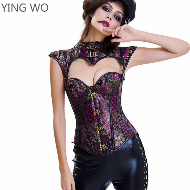 abb7940fc9 Black Purple Jacquard 16 Bones Open Bust Gothic Steampunk Corset Tops  Buckles Neck Plus Size Lace-up Back Burlesque Corset 3XL