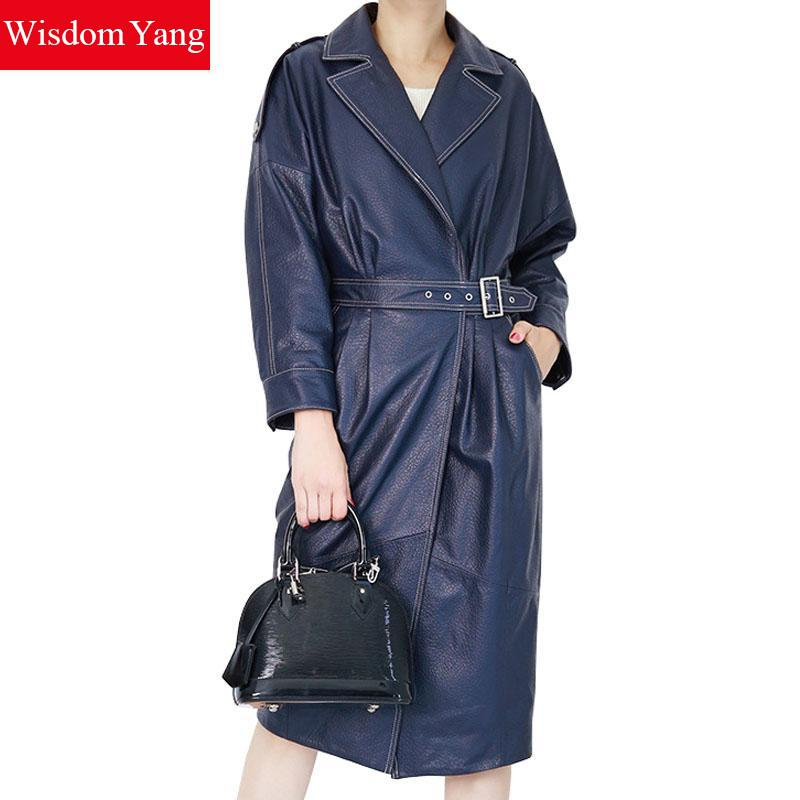 Autumn Blue Real Sheepskin Leather Long Sleeve Suit Coat Womens Belt Office Ladies Elegant Overcoat 2018 Trenchs Coats Outerwear