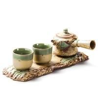 Exquisite Tea Set pottery China Kung fu tea set for balck tea Travel Ceramic Tea Set One teapot Two cups B006