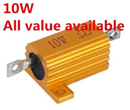 Coque métallique en aluminium, 2 pièces, 10W 12R 15R 18R 20R 22R 27R 30R, résistance enroulée 12 15 18 20 22 27 30 ohm 10W 5%