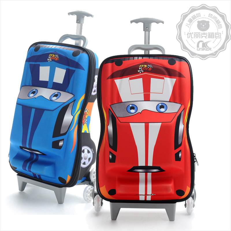 Free Shipping Child Trolley Bag Automobile Race Three Dimensional Cartoon Luggage Travel Stair EVA In Hardside From