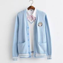 2017 חדש חמוד פינגווין תינוק רקמת מכללת סגנון יפן רך אחות JK מדים סרוג לסרוג קרדיגן סוודר כחול ולבן