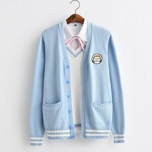 Image 1 - 2017新かわいいペンギンベビー刺繍カレッジスタイル日本姉妹jk制服ニットニットカーディガンセーターブルー & ホワイト