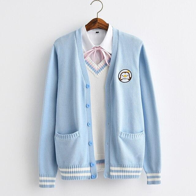 2017新かわいいペンギンベビー刺繍カレッジスタイル日本姉妹jk制服ニットニットカーディガンセーターブルー & ホワイト