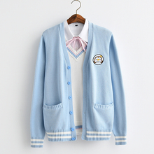 2017 new Cute Penguin baby embroidery college style Japan soft sister JK uniforms knitted Knit cardigan sweater blue & white