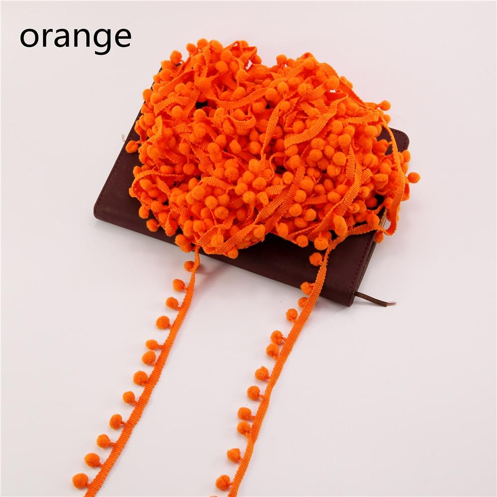 Оптовая продажа 60 метров Orange 10 мм Вышивание аксессуар Orange DIY pom Кружево ленты Кисточки из бахромы мяч отделкой
