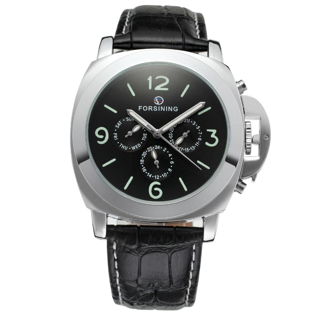 FORSINING Leather Band Men Watches 2017 Big Case Fashion Casual Clock Men Mechanical Wristwatch Luminous Dial