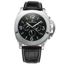 Forsining bande hommes montres 2017 grand cas en cuir de mode casual horloge hommes montre-bracelet mécanique cadran lumineux relogio masculino