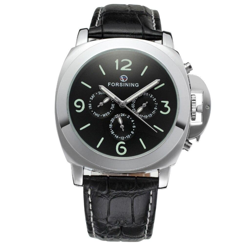 Prix pour Forsining bande hommes montres 2017 grand cas en cuir de mode casual horloge hommes montre-bracelet mécanique cadran lumineux relogio masculino