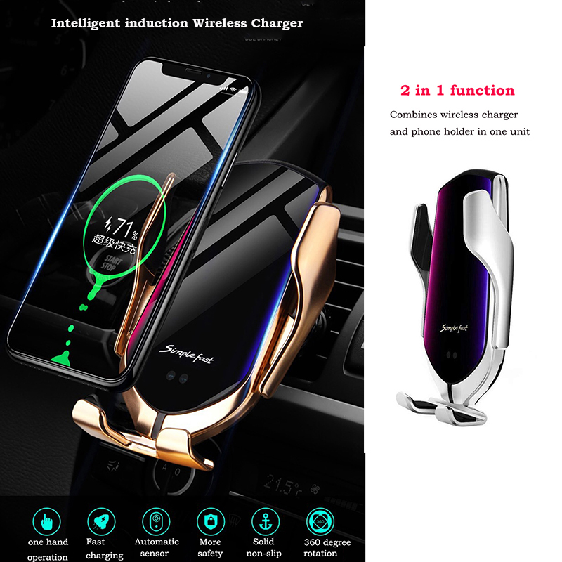 Automatic Clamp 10W Car Wireless Charger for Samsung S10 Note9Note8 Qi Infrared Induction Car Holder with Navigation Positioning
