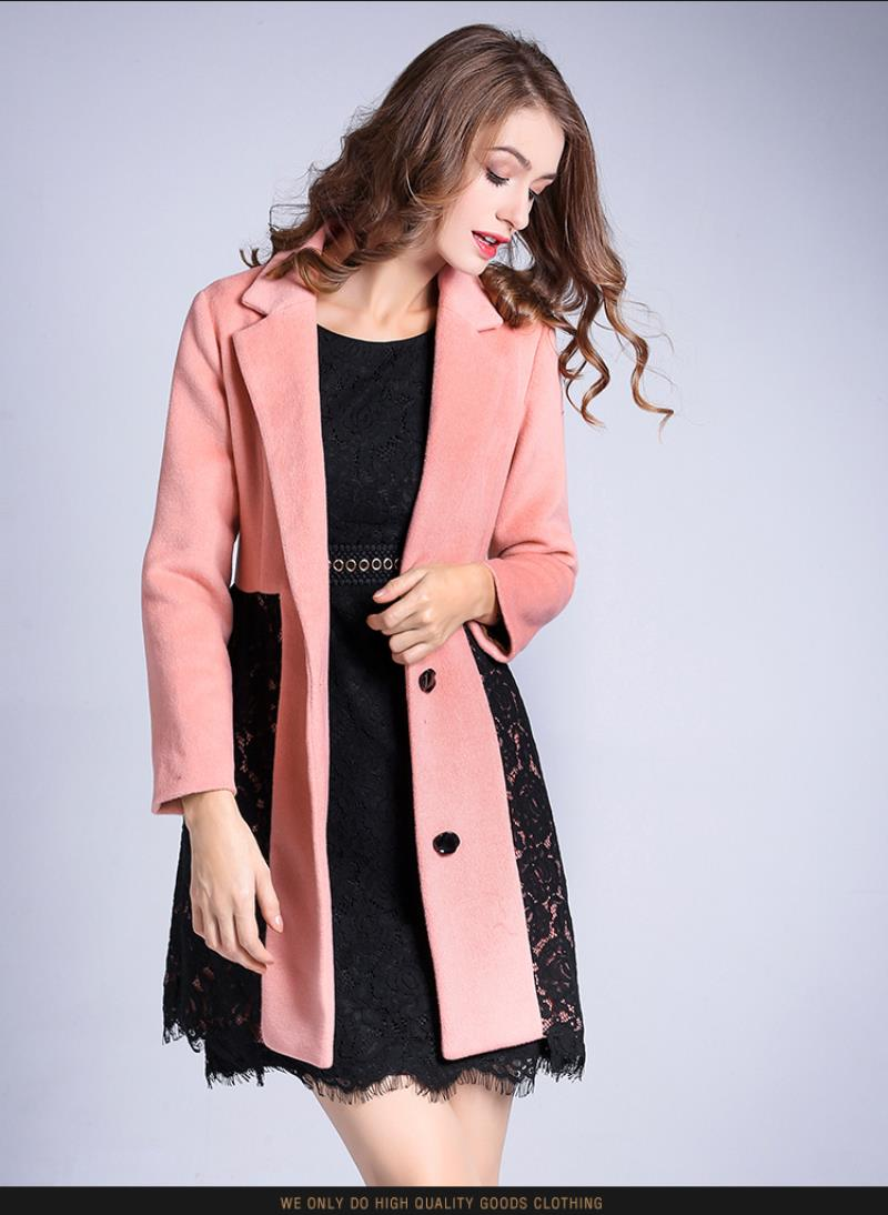 Women's New double-sided cashmere coat lace long single-breasted woolen coat pink elegant cosy warm slim overcoat