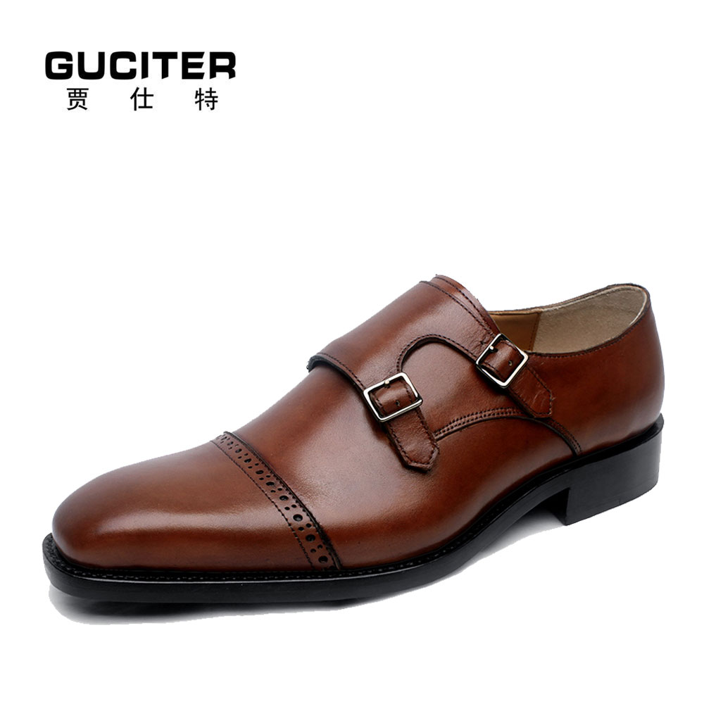 Monk handmade Mens Shoes Leather Goodyear welted brush color advanced customization fashion leather Shoes designer man order полироль пластика goodyear атлантическая свежесть матовый аэрозоль 400 мл