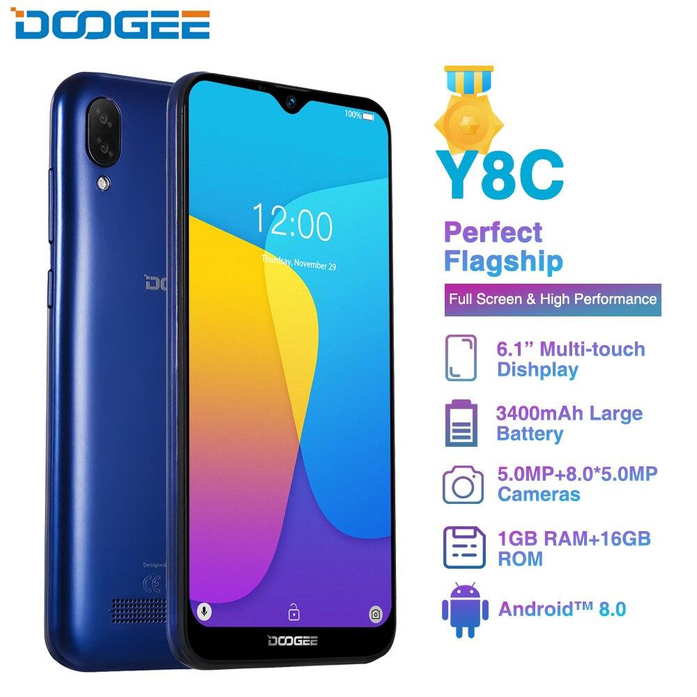 DOOGEE Y8C Android 8.1 6.1inch 19:9 Smartphone MTK6580 1GB RAM 16GB ROM 3400mAh Dual SIM 8MP+5MP Waterdrop Screen Mobile Phone