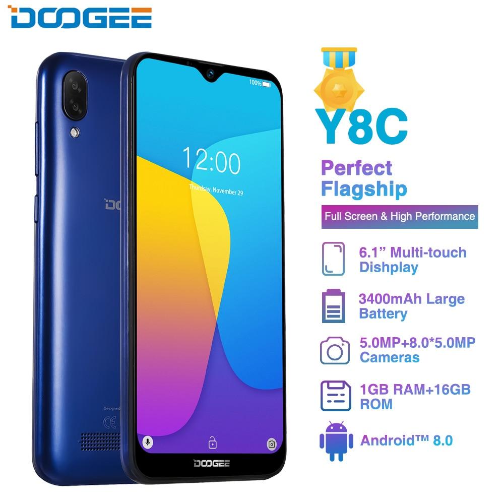 DOOGEE Y8C Android 8.1 6.1 pouces 19:9 Smartphone MTK6580 1 GB RAM 16 GB ROM 3400 mAh double SIM 8MP + 5MP téléphone Mobile écran de goutte d'eau