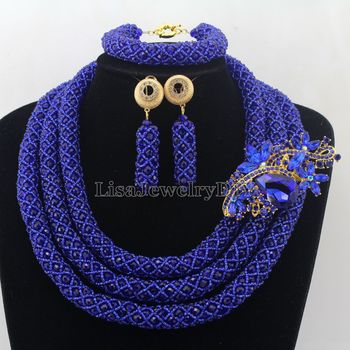 Classic Nigerian Wedding African Beads Jewelry Set Crystal Jewelry Set Costume Jewelry Sets Womens Jewellery Set HD7311