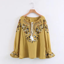 TEELYNN cotton boho blouse 2018 Ethnic floral embroidered chic tassel puff long sleeve blouses hippie shirt women top Camisas
