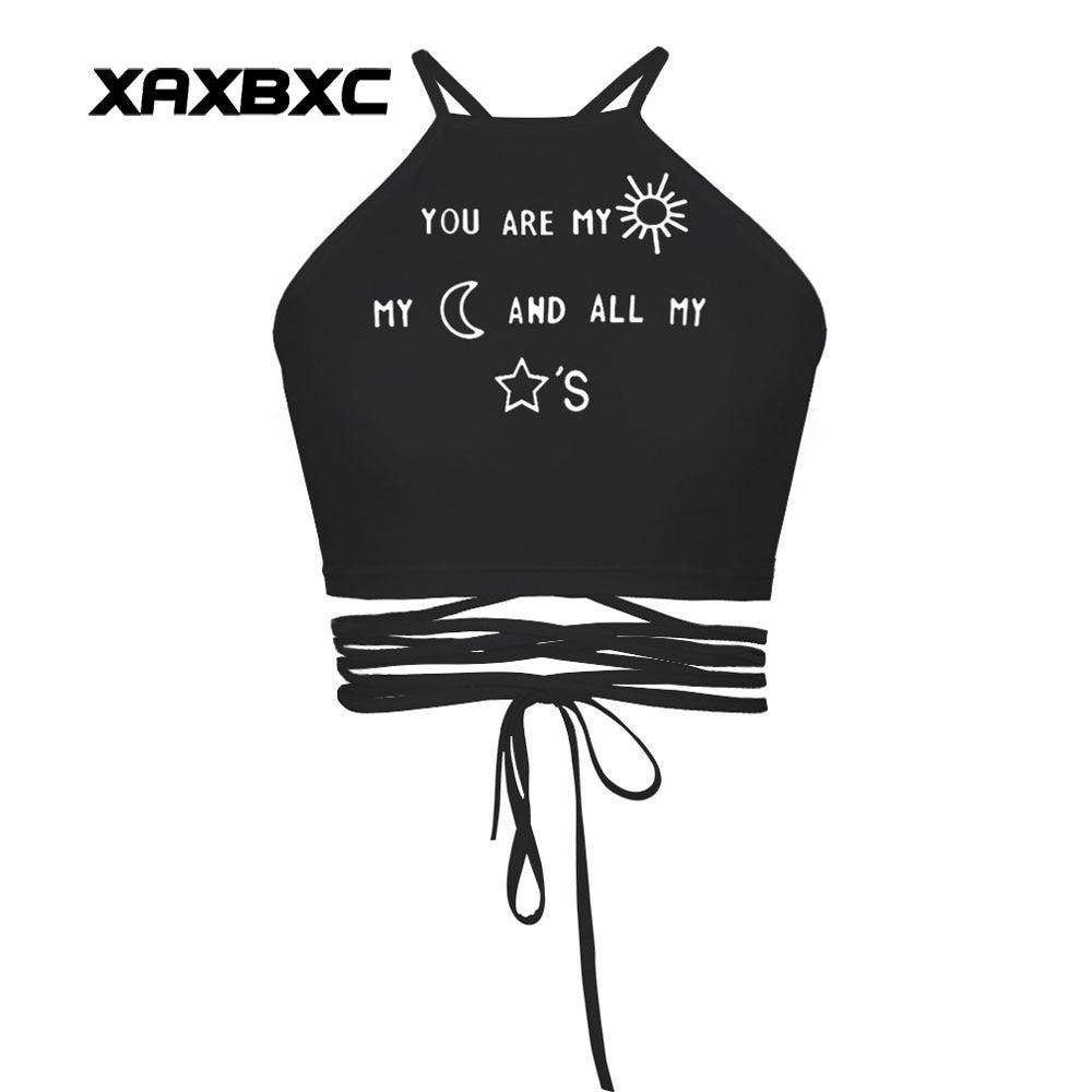 XAXBXC 018 Summer Sexy Girl Vest Tank Tops Letter Love Words Emoji Prints Slim Fitness Cross Bandage Strap Women Cropped Tops