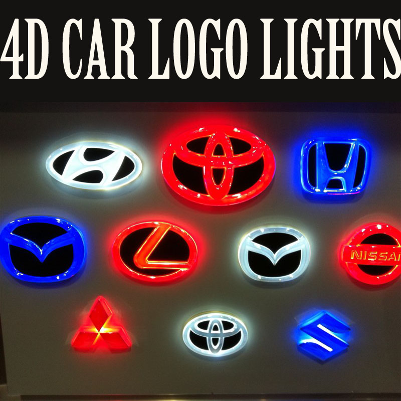 Free shipping 4D WHITE RED BLUE Led Car styling Parking Logo REAR Badge Emblem LED Sticker