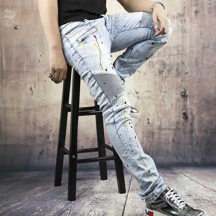 #1407 Motorcycle Mens biker jeans Hip hop Slim fit Skinny jeans men High quality Bikers jeans-male Designer jeans men Joggers