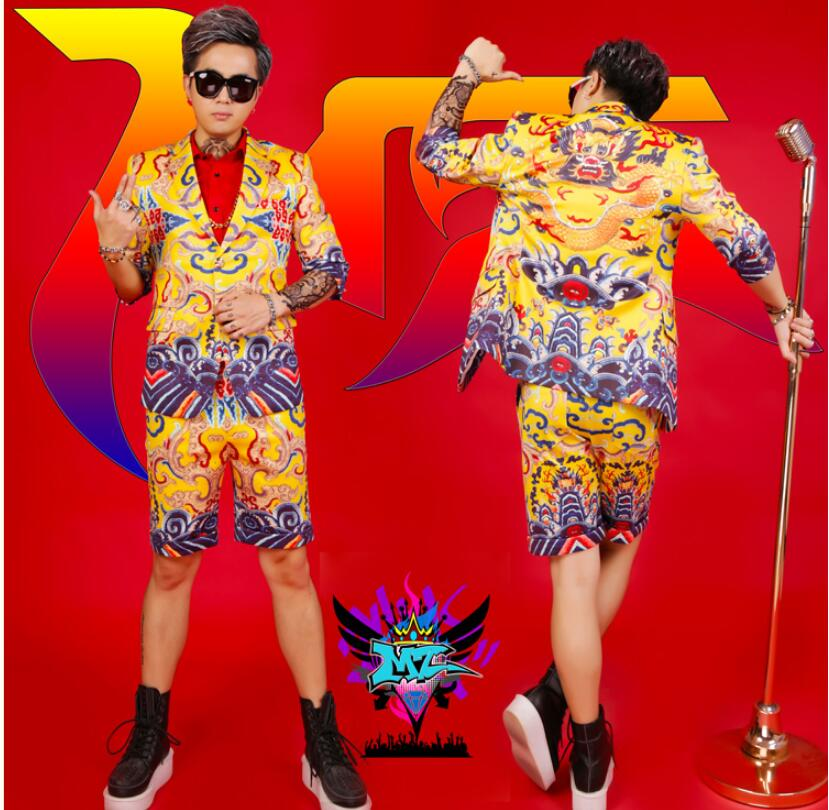 2019 new DJ personality rock male singer costume <font><b>suit</b></font> sets <font><b>men's</b></font> slim printed <font><b>suit</b></font> <font><b>shorts</b></font> two-piece <font><b>suits</b></font> image