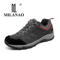 2017 MILANAO Men Outdoor Waterproof Breathable Gray Climbing Shoes Nylon Leather Trekking Sneakers 36 45 Hiking