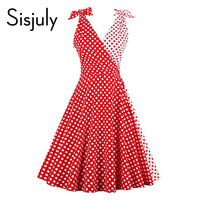 Sisjuly women vintage dress 1950s red polka dots patchwork retro dresses cute bowknot sleeveless elegant vintage dress new 2017