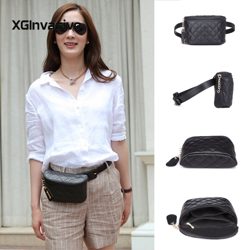 22acdb96fee CCRXRQ Black Belt Bags Fashion Solid Leather Waist Bag For Women ...