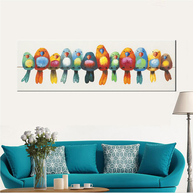 Hand painted canvas oil painting colorful birds canvas art cute lovely bird picture funny childrens picture