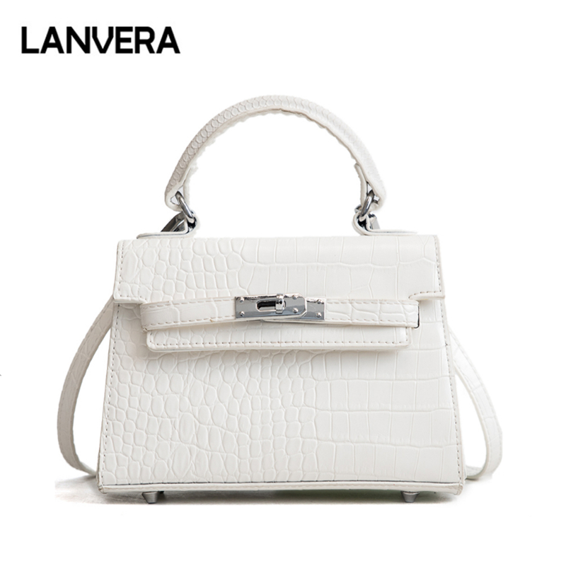 LANVERA brand women totes mini solid rivet lock alligator handbag hotsale ladies evening clutch shoulder crossbody messenger bag vintage casual sequined totes small shell handbag hotsale women coin purses ladies party clutch shoulder messenger crossbody bag