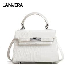LANVERA brand women totes mini solid rivet lock alligator handbag hotsale ladies evening clutch shoulder crossbody messenger bag