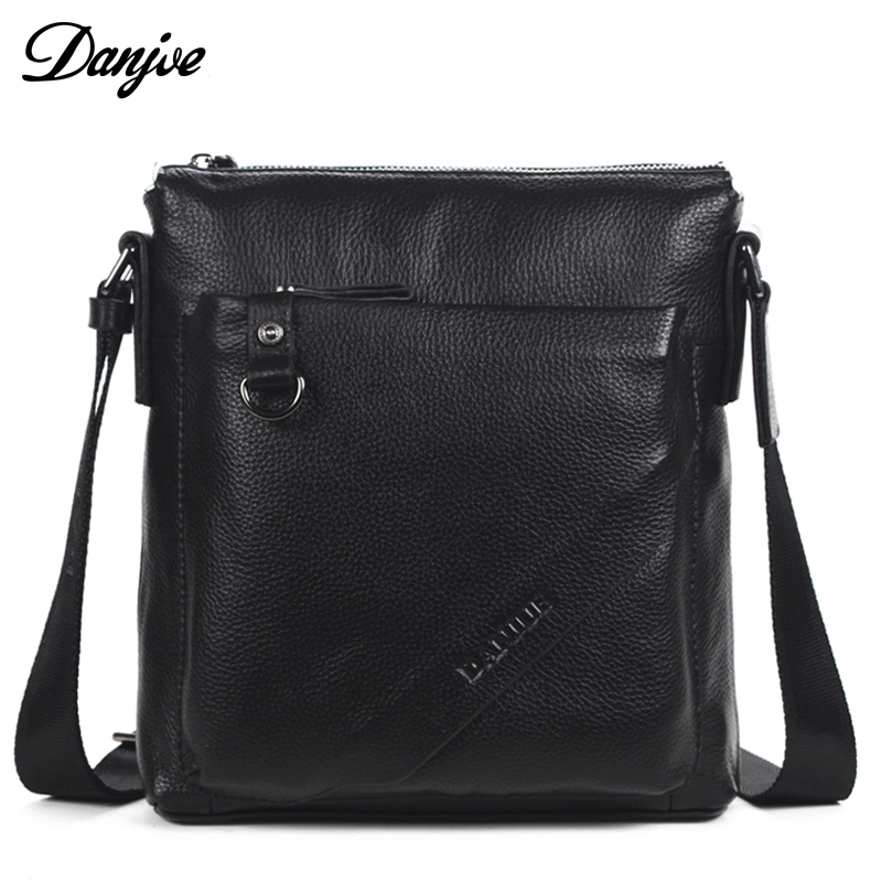 DANJUE Genuine Cow Leather Men Shoulder Bags Real Leather Business Crossbody Bag Solid Colors Mini Famous Brand Men Bag black