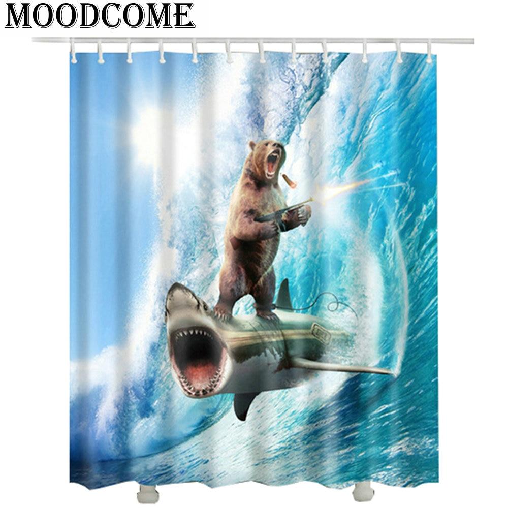 180*180cm bear shark printed shower curtain new polyester fabric wave Gun battle bathroom curtain waterproof