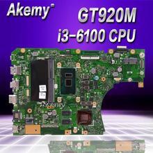 Akemy X556UJ i3-6100 Процессор GT920M 2 Гб N16V-GM-B1 4 Гб Оперативная память материнская плата версия 2,0 для ASUS X556UJ X556UV Материнская плата ноутбука