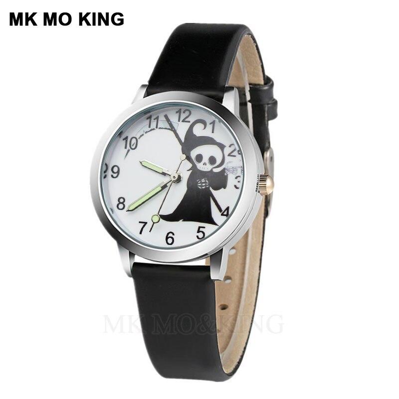 Student Hot Cosplay Cartoon Watch Skull Boy Sports Clock Casual Leather Girl Quartz Wrist Watch Montre Enfant Mix Color