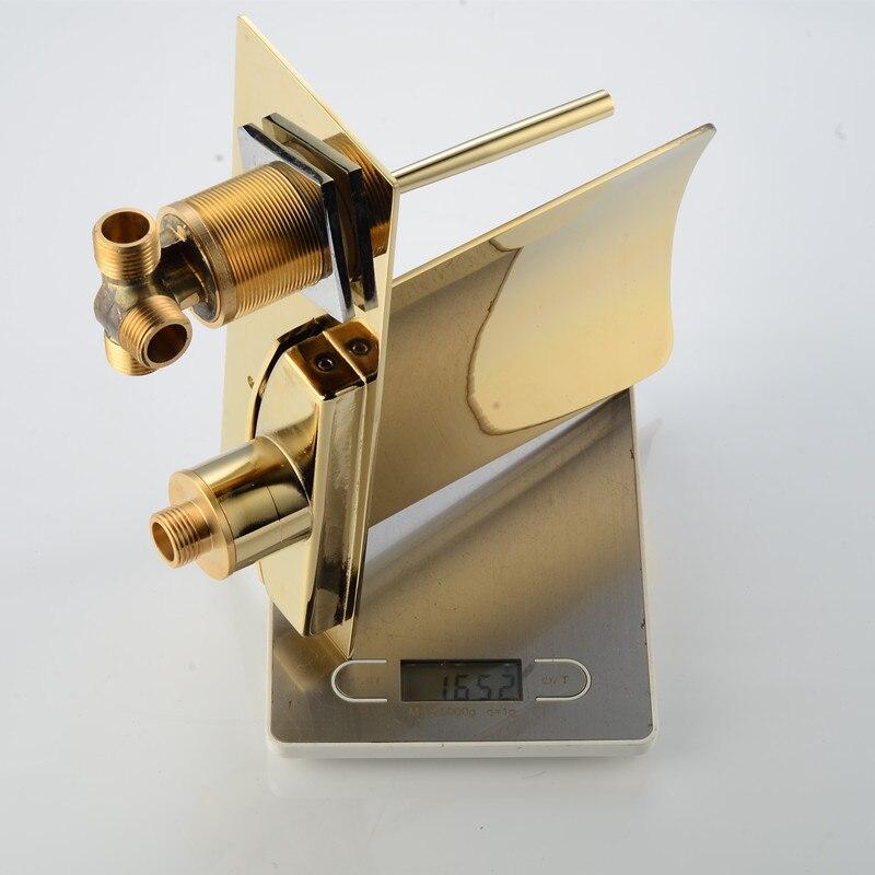 Mur d'or robinet à led salle de bains cascade led fixé au mur robinet cascade lumière robinet chaud et froid led robinet - 5