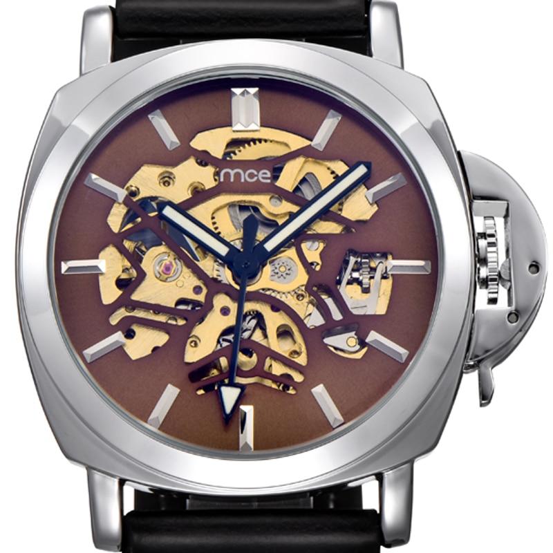 MCE Watch OEM Men Automatic Skeleton Watches Leather Sport Relogios 2017 New Men's Wrist Watch