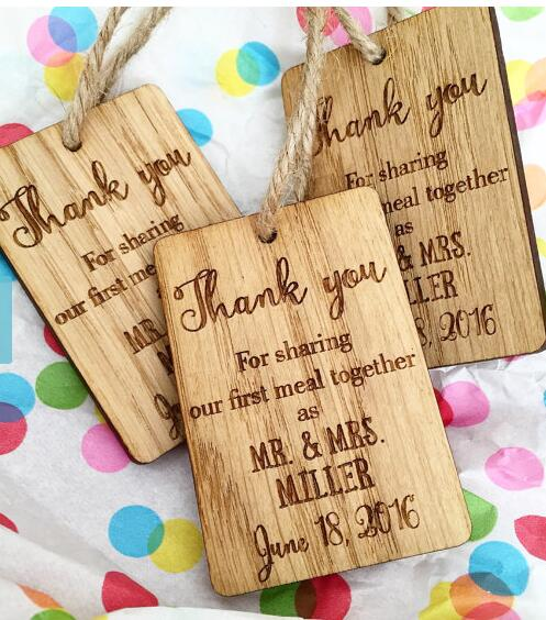 custom wooden rustic wedding names and date napkin ties new year gift favor tags labels party