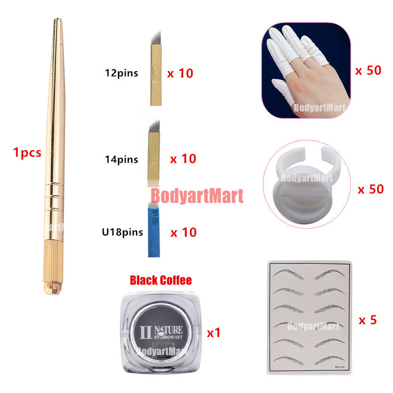 HOT Eyebrow kit permanent makeup machine tattoo eyebrow tattoo microblading pen kits with 30pcs needle blade for learner user free shipping 1 piece permanent makeup pen machine 600d c with special needle 600d g for eyebrow lips tattoo machine kit