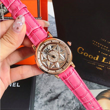 Fashion Rose Women Watches Rotation Dress Watch Women Real Leather Band Big Dial Bracelet Wristwatch Waterproof New montre femme good luck rotation floral watch women dress watches mashali crystals leather wristwatch girls students relojes montre femme w054