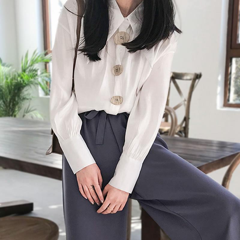 Camisa Manga abajo Suelto Giro 2019 Blusa white xitao Lyh3119 De Único Diseño Completa Mujer Collar Primavera Color green Lyh3119 Lyh3119 Sólido Apricot Breasted a0q55v8w