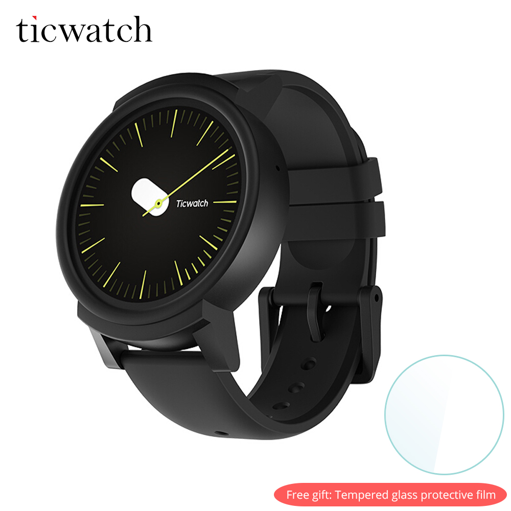 D'origine Ticwatch E montre connectée android Wear OS Dual Core WIFI GPS téléphone montre intelligente IP67 Étanche cadeau gratuit-film de protection