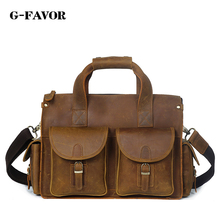 Famous Brand Crazy Horse Genuine Leather Men Messenger Bags Men's Casual Handbag Business Laptop Crossbody Bags Briefcase Tote