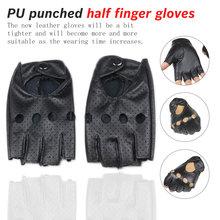 half finger gloves Black PU Half Finger Driving Training Fitness Gloves Punk Jazz Fingerless For Women Luva Guant
