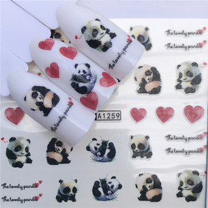 Stickers for Nails Water Decals Lovely Panda Black Cat Nail Slider Art design Decoration Manicure Foil Adhesive Wraps Pegatinas
