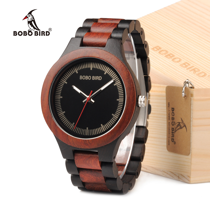 BOBO BIRD Mens Watches Top Brand Luxury Ebony Wooden Watch with Luminous Hand in Wooden Gift Box relogio masculino 2017 bobo bird wh05 brand design classic ebony wooden mens watch full wood strap quartz watches lightweight gift for men in wood box