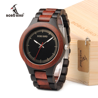 BOBO BIRD Mens Watches Top Brand Luxury Ebony Wooden Watch With Luminous Hand In Wooden Gift