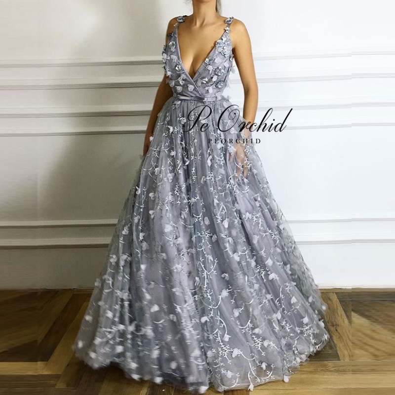 PEORCHID Women Long Embroidery Flowers Prom Dress A-line Girls Vestido Longo De Festa 2019 New Sexy Floral Formal Gowns
