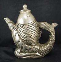 Copper Brass CHINESE crafts decor Asian Branco Cobre Prata lojas de de brass De Peixe Tea Wine Pot Flagon