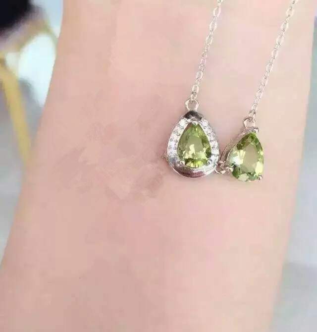 Natural peridot stone  Necklace natural amethyst Pendant Necklace S925 silver Fashion water drop Double   women party Jewelry